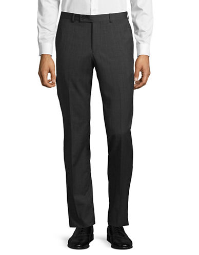 Ted Baker No Ordinary Joe Joey Grid-Check Wool Dress Pants-GREY-34 Regular