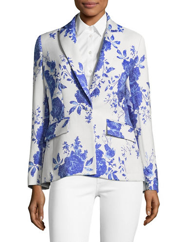 Pink Tartan Floral Jacquard Blazer-WHITE/BLUE-4