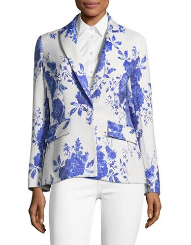 Pink Tartan Two-Tone Floral Jacket-WHITE/BLUE-4