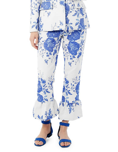 Pink Tartan Floral Jacquard Ruffle Pants-WHITE-14