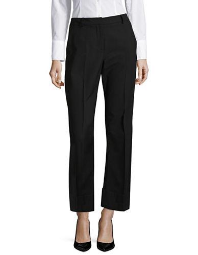Pink Tartan Classic Wide-Leg Pants-BLACK-12