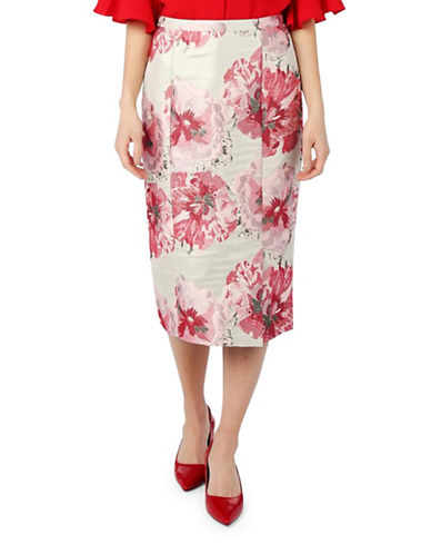 Pink Tartan Metallic Jacquard Midi Pencil Skirt-PINK-6