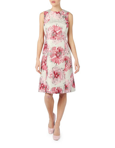 Pink Tartan Metallic Floral Jacquard Fit-And-Flare Dress-PINK/RED-8