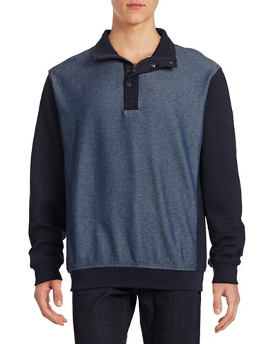 Bugatti Mix Media Raglan Sweater-NAVY-Large