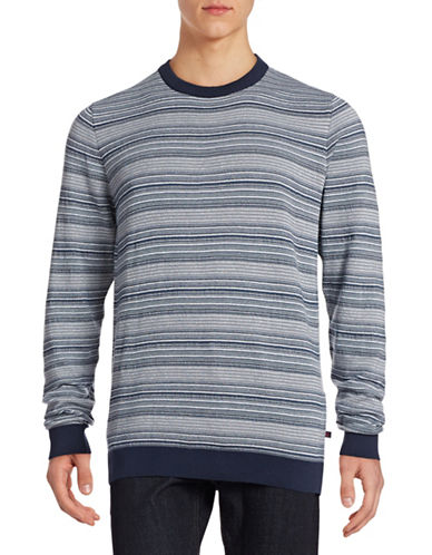 Bugatti Skinny Striped Cotton Sweater-BLUE-X-Large