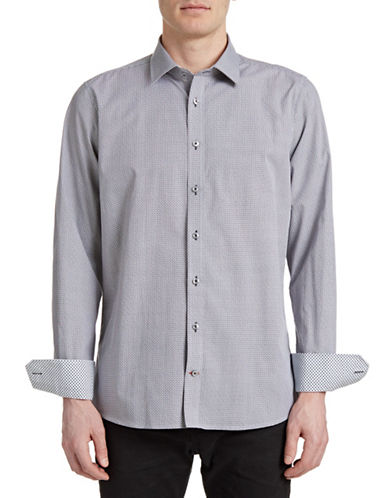 Pure Geo Print Slim Sport Shirt-GREY/BLACK-Large