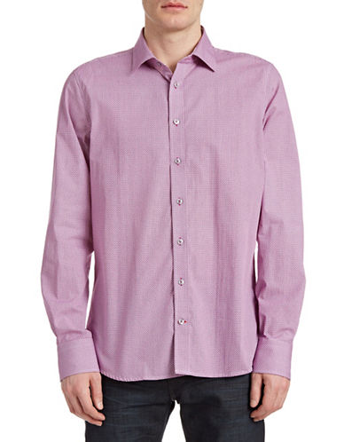 Pure Geo Print Slim Sport Shirt-PURPLE-Large