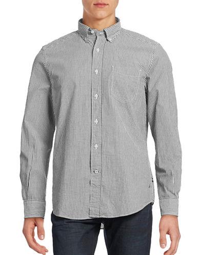 Nautica Seersucker Stripe Button Shirt-TRUE BLACK-Large