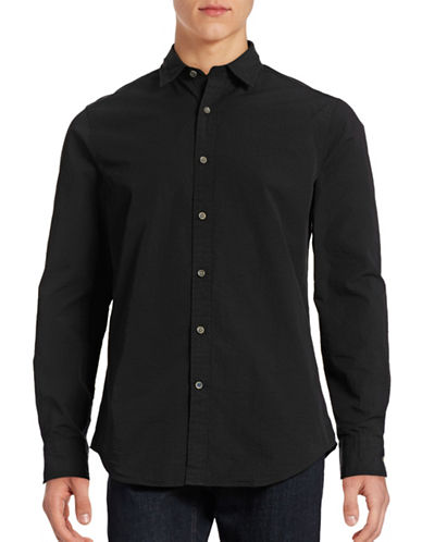 Nautica Slim-Fit Seersucker Sport Shirt-TRUE BLACK-X-Large