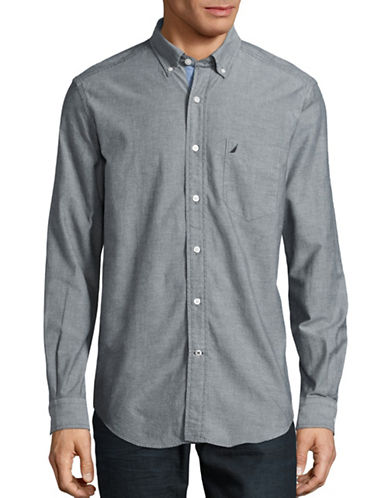 Nautica Cotton Oxford Shirt-TRUE BLACK-Small