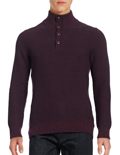 Nautica Cotton Knit Button-Front Sweater-BURGUNDY-Small 88658828_BURGUNDY_Small