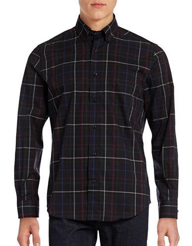 Nautica Wrinkle-Resistant Modern Plaid Shirt-TRUE BLACK-Small