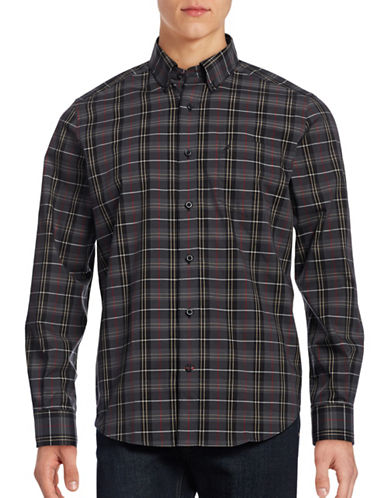 Nautica Plaid Sport Shirt-CHARCOAL HEATHER-XX-Large