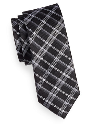 Sondergaard Plaid Silk Tie-BLACK-One Size