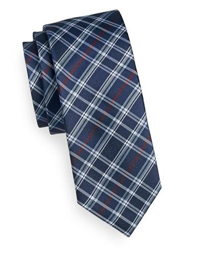 Sondergaard Plaid Silk Tie-NAVY-One Size