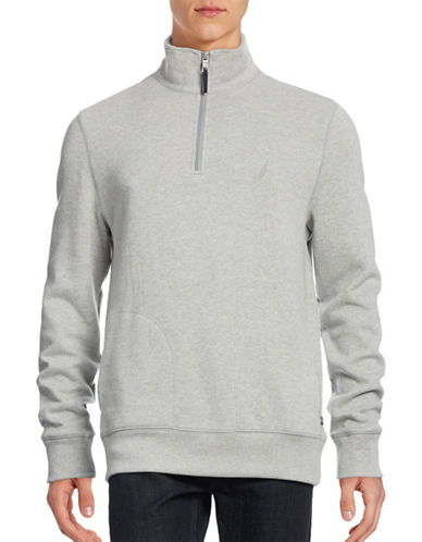 Nautica The Windward Half-Zip Pullover-GREY HEATHER-Small