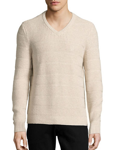 Nautica Cotton Knit V-Neck Sweater-OATMEAL HEATHER-Large