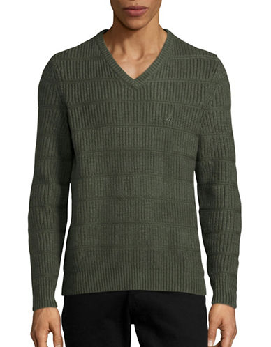 Nautica Scroll-Knit V-Neck Sweater-MOSS HEATHER-Large