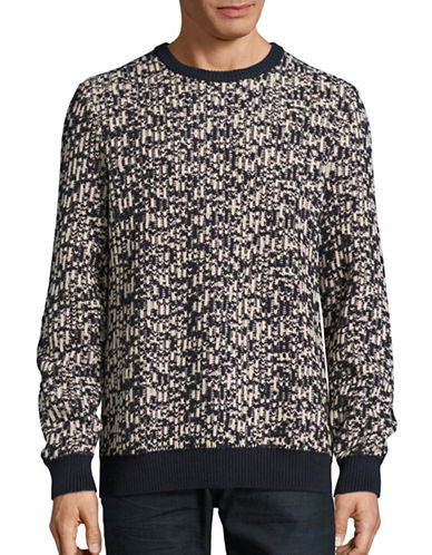 Nautica Jacquard Cotton Crew Neck Sweater-NAVY-Medium
