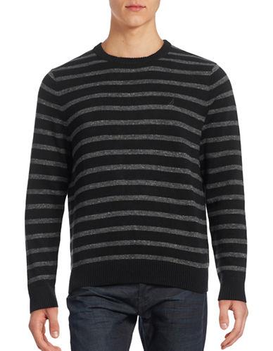 Nautica Striped Crew Neck Sweater-TRUE BLACK-Large 88535844_TRUE BLACK_Large