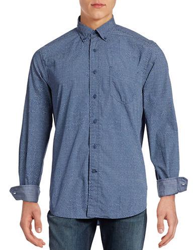 Nautica Printed Poplin Shirt-BOARDWALK BLUE-Medium