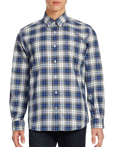 Nautica Long Sleeve Plaid Shirt-ESTATE BLUE-X-Large