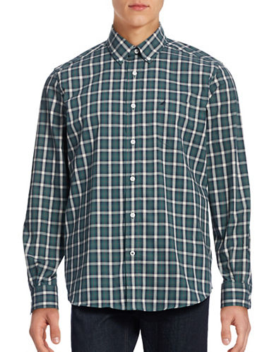 Nautica Wrinkle Resistant Plaid Shirt-LAKESIDE GREEN-Small