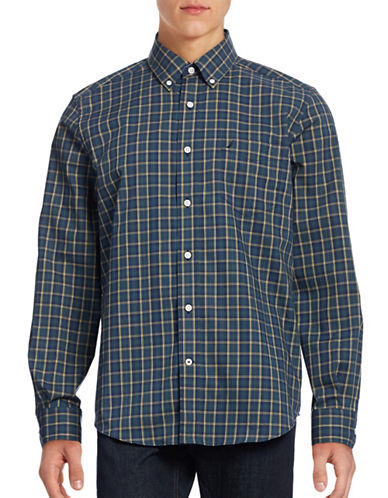 Nautica Wrinkle Resistant Plaid Shirt-MARINE BLUE-Medium