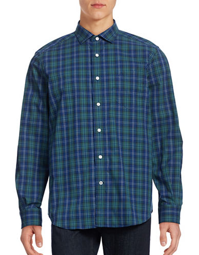 Nautica Cotton Plaid Shirt-ESTATE BLUE-X-Large