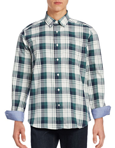 Nautica Long Sleeve Plaid Shirt-LAKESIDE GREEN-Small