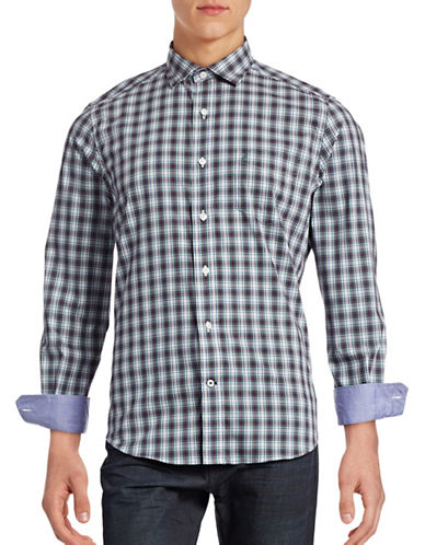 Nautica Wrinkle-Resistant Plaid Sport Shirt-WHITE CAP-Small