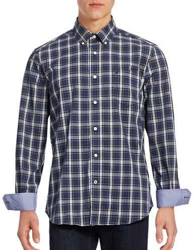 Nautica Wrinkle Resistant Contrast Plaid Shirt-TRUE BLUE-Small