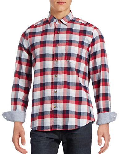 Nautica Cotton Plaid Shirt-NAUTICA RED-Medium