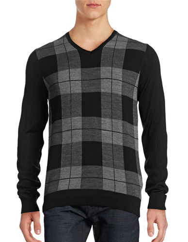 Bugatti Checkered Wool-Blend Sweater-GREY-XX-Large
