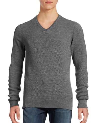 Bugatti Wool-Blend Knit Sweater-GREY-XX-Large