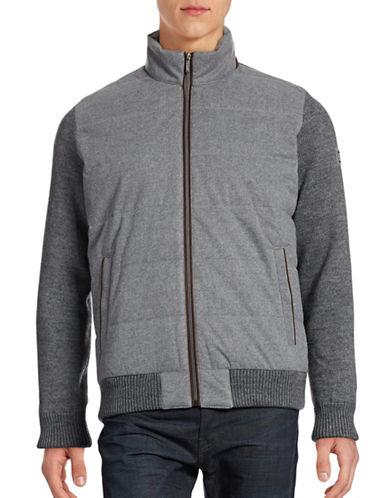 Bugatti Mixed-Media Sweater Jacket-GREY-Small 88706647_GREY_Small