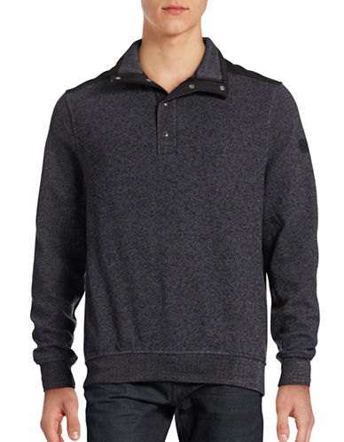 Bugatti Premium Finish Mock Neck Sweater-GREY-Large