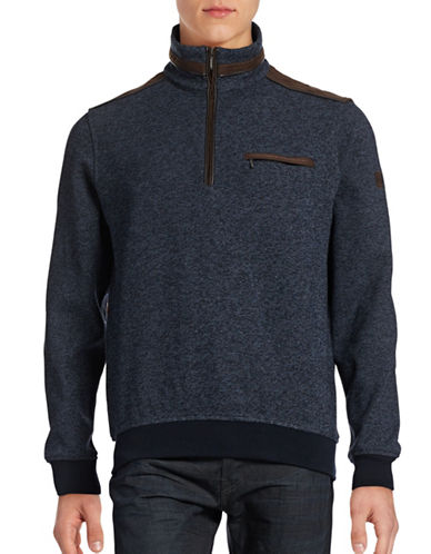 Bugatti Contrast Half-Zip Mock Sweater-BLUE-Large 88706664_BLUE_Large