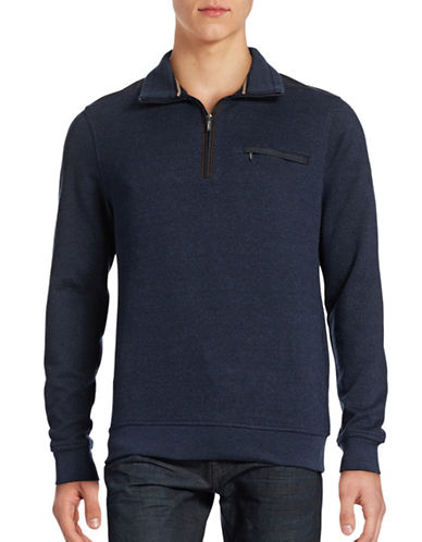 Bugatti Herringbone Half-Zip Mock Sweater-BLUE-X-Large 88706675_BLUE_X-Large