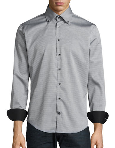 Bugatti Print Button-Down Shirt-GREY-X-Large
