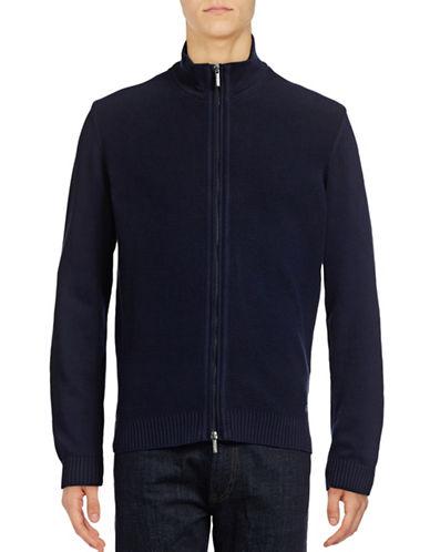 Bugatti Grid-Stitch Sweater Jacket-BLUE-Large 88941912_BLUE_Large