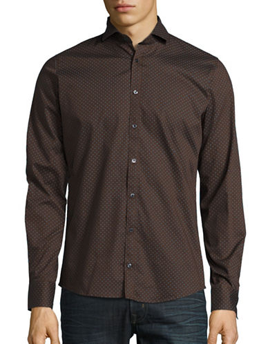 Pure Polka Dot Sport Shirt-BROWN-Large