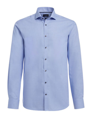 Bruun And Stengade Armstrong Micro Check Shirt-BLUE-EU 45/US XX-Large
