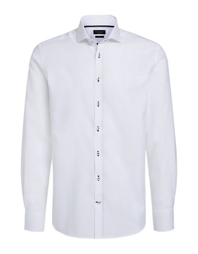 Bruun And Stengade Ricci Contrast Placket Shirt-WHITE-EU 44/US X-Large