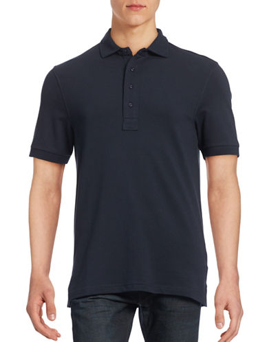 Bruun And Stengade Tokyo Pima Cotton Knit Polo-NAVY-Large