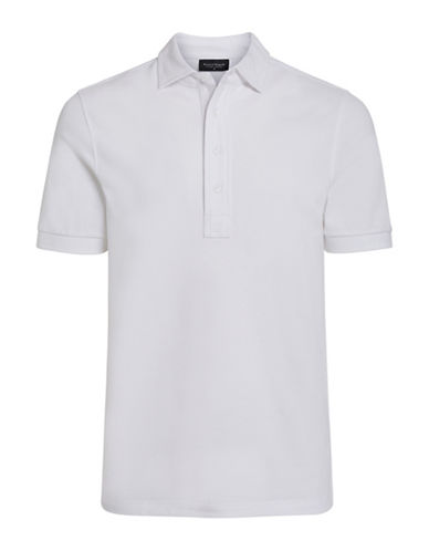 Bruun And Stengade Tokyo Pima Cotton Knit Polo-WHITE-Medium