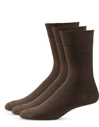 Bugatti Mens Three-Pack Sensitive Comfort Top Socks-BROWN MELANGE-7-9