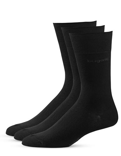 Bugatti Mens Three-Pack Sensitive Comfort Top Socks-BLACK-10-13
