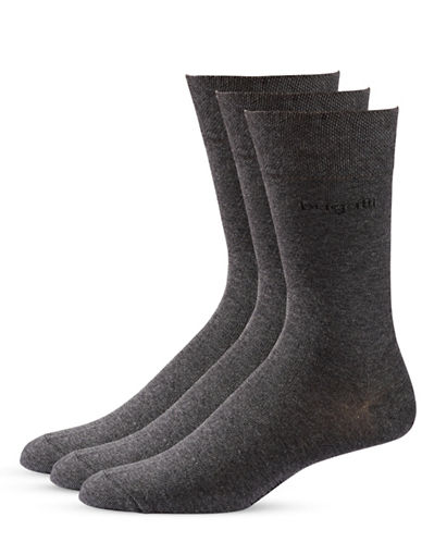 Bugatti Mens Three-Pack Sensitive Comfort Top Socks-BLACK MELANGE-10-13