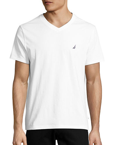 Nautica Slim-Fit V-Neck Performance T-Shirt-WHITE-Medium 88849687_WHITE_Medium